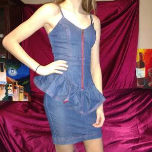 Betsy Johnson Vintage Denim Peplum Dress 0